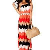 RedBlack Strapless Maxi Dress