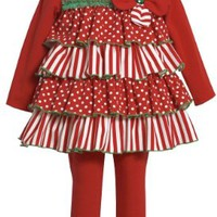 Bonnie Jean Red White Stripe Dot Christmas 2oc Outfit Girls 0M-4T