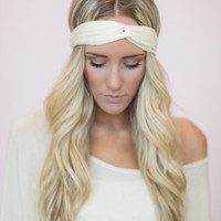 Ivory Turban Headband, Thin Cute Hair Band for Women, Narrow Running Headbands, Fashion Headbands (HB-124)