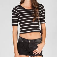 HEART HIP Elbow Sleeve Womens Open Back Crop Tee
