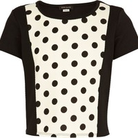 GIRLS BLACK POLKA DOT TEXTURED CROPPED TOP