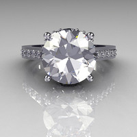 French Bridal 14K White Gold 3.0 Carat White Sapphire Solitaire Wedding Ring R301-14WGDWSS