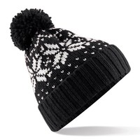 Beechfield Unisex Fair Isle Snowstar Winter Beanie Hat (One Size) (Black / White)