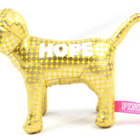 NWT Victoria's Secret PINK 'HOPE' Yellow Metallic Dog