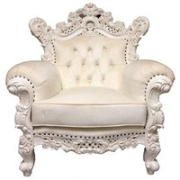 MAJESTIC Carved Rococo Armchair White Velvet Solid Wood - AFFORDABLE LUXURY!