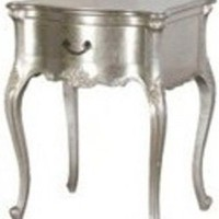 French Carved Silver Side Table Nightstand