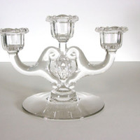 Cambridge Glass Mid Century CORINTH Clear 3  Light Candlestick / Candle Holder