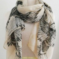 All Season's BIRDS print scarf in Beautiful Color! Super Cute!