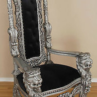 Carved Mahogany Lion Head Gothic Throne Chair - King Silver and Black