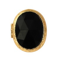 Black oval glass locket ring