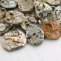 Vintage & Antique Watch Movement Lot - 20 Clock Pieces for Parts, Jewelry Making - Swiss, Bulova, Benrus, Gruen / Steampunk Supplies