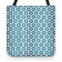 Vintage Flower Pattern Blue Tote