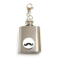 Circular Mustache 1 oz. Stainless Steel Key Chain Flask