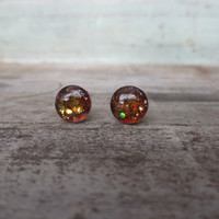 Iridescent and Pink Glitter Sterling Silver Stud Earrings 8mm