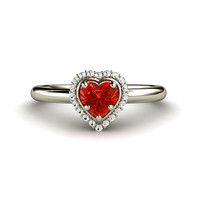 Red Sapphire Engagement Ring Heart Halo Red Sapphire Ring 14K White Yellow Rose Gold Palladium Custom Engagement Ring