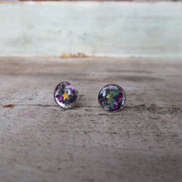 Stars Iridescent Glitter Sterling Silver Studs Post Earrings 8mm