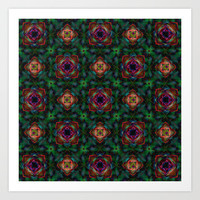 Green Kaleidoscope Hippie Art Pattern Art Print by Hippy Gift Shop