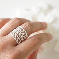 ASHUM - AYN - HAWA Silver Stackable Rings - Moroccan Sugar Collection
