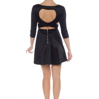 Heart of Hearts Three Quarter Sleeve Cut Out Dress - Black