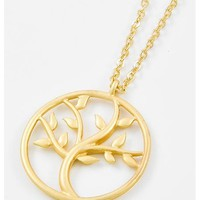 Matte Gold Tone Metal / Lead&nickel Compliant / Tree Pendant Necklace