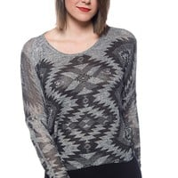 Dizzy Darling Tribal Pattern Knit Pullover Sweater - Gray