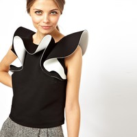 ASOS Top with Extreme Ruffle Neckline