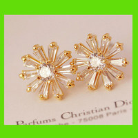 Golden Rhinestone Daisy Earrings