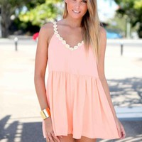 Coral Daisy Neckline Sleeveless Playsuit