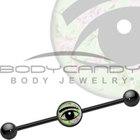 Black Mint Green Vintage Floral Wise Eye Industrial Barbell   Body Candy Body Jewelry