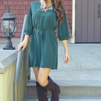 Right Place Right Time Dress: Hunter Green
