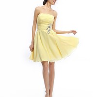 Cocomelody Strapless A Line Knee Length Chiffon Yellow Bridesmaid Dress C12368