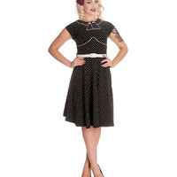 (PRE-ORDER) Black & White Polka Dot Cap Sleeve Noreen Dress