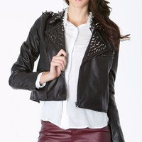 Spiked Collar Leather Jacket | MakeMeChic.com