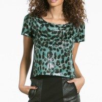 Sequin Leopard Tee Crop Top | MakeMeChic.com