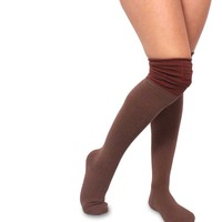 Velvet Heart Colorblock Rouched Top Women's Over the Knee High Fashion Socks