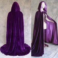 Lined Purple Velvet Cloak - Medieval Renaissance Victorian Costume Mardi Gras by Artemisia Designs