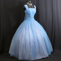 Vintage 1950's 50's 50s Emma Domb BLUE Ruched CHIFFON Organza Wedding Prom Party DRESS