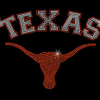 Rhinestone Iron-On Transfer - Texas Longhorns - DIY Iron On Rhinestone Transfer