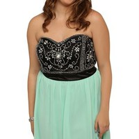 Plus Size Vintage Dress with Beaded Mesh Bodice and Carefree Skirt