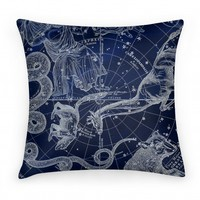 Constellation Blue and White Pillow