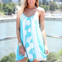 Blue & White Floral Sequin & Lace Sleeveless Dress