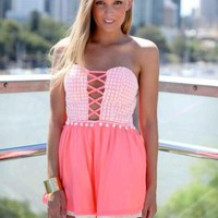 Pink Crochet Strapless Bodice Criss Cross Playsuit