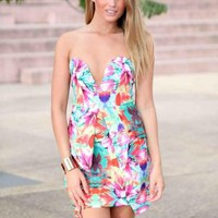 Green Tropical Print Sweetheart Neck Peplum Dress