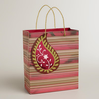 MEDIUM SNOWY STRIPE GIFT BAG