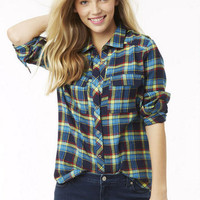 Tunic Plaid Flannel Shirt