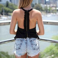 Black Ruffle Zipper Back Sleeveless Top