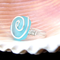 Ocean Blue Sea Glass Ring: Fine Silver Swirl Spiral Wire Wrapped Beach Jewelry, Tuquoise Sky Blue Ring, Size 4.5