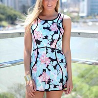 Blue Floral Print Playsuit with Black Piping Detail