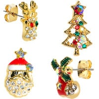 Gold Tone Gem Holiday Christmas Mixed Earring Set | Body Candy Body Jewelry