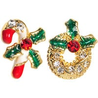 Gold Tone Gem Holiday Wreath Candy Cane Mixed Earring Set | Body Candy Body Jewelry
